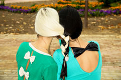 Sisters woven braid hair Stock Photography