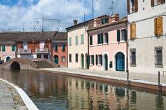 Sisti överbryggar. Comacchio. Emilia-Romagna. Italien. Royaltyfria Bilder
