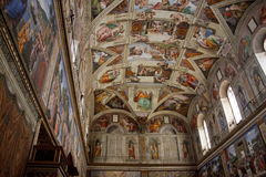 Sistine Chapel. Ceiling fresco in the vatican museum rome, italy Stock Photos