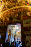 Sistine Chapel ( Cappella Sistina ) - Vatican, Roma - Italy. VATICAN CITY - April 27, 2015 paintings at Sistine Chapel ( Cappella Sistina ) - Vatican, Roma Royalty Free Stock Images