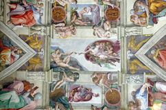 Sistine Chapel ceiling. (Creation of Adam in center), Vatican Museum Royalty Free Stock Photography