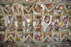 Sistine Chapel Ceiling - landmark attraction in Vatican State. The central part of the Sistine Chapel ceiling - landmark attraction in Vatican State Royalty Free Stock Photos
