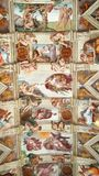 Sistine Chapel frescoes, Rome, Italy. Close up of the frescoes of Michelangelo on ceiling of Sistine Chapel in Rome, Italy Royalty Free Stock Photo