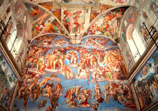 "Sistine Chapel, The Last Judgement. View of Michelangelo's ""The Last Judgement"" painted on the alter wall of the Vatican's Sistine Chapel Stock Photo"