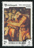 Sistine Chapel. MALDIVE ISLANDS CIRCA 1975: stamp printed by Malldive Islands, shows Paintings from Sistine Chapel, Michelangelo, circa 1975 Royalty Free Stock Image