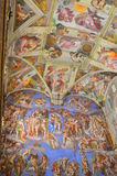 The sistine chapel mural paintings. Mural paintings representing Bible episodes painted by the famous Michelangelo Buonaroti on the ceiling of the Sistine Chapel Stock Photos