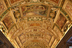 Sistine Chapel's Map Room. Beautiful frescoed ceiling of the Map Room in the Sistine Chapel in Vatican Stock Image