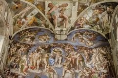 Sistine chapel in Vatican. Detail of the The Last Judgement fresco at Sistine chapel in Vatican. It was painted by Michelangelo between 1535 and 1541 Royalty Free Stock Image