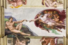 Sistine Chapel. Vatican, Italy. Sistine Chapel, the Adam Creation. Vatican, Rome ( Italy Royalty Free Stock Image