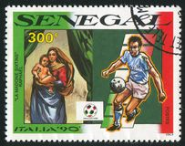 Sistine Madonna. SENEGAL - CIRCA 1990: stamp printed by Senegal, shows The Sistine Madonna, by Raphael, circa 1990 Stock Photo
