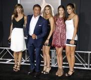 Sistine Rose Stallone, Jennifer Flavin, Sylvester Stallone, Sophia Rose Stallone and Scarlet Rose Stallone Royalty Free Stock Image