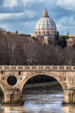 Sisto Bridge and the dome of Saint Peter. Rome Italy Stock Images