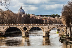 Sisto Bridge and the dome of Saint Peter. Rome Italy Royalty Free Stock Photos