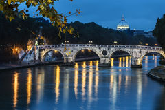 Sisto Bridge in Rome by night, Italy royalty free stock photography