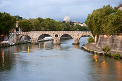 Sisto bridge on Tiber river at evening Royalty Free Stock Photos