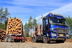 Sisu Logging Truck and Trailer Full of Wood Stock Image