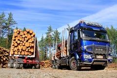 Sisu Logging Truck and Trailer Full of Wood Stock Image