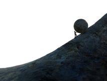 Sisyphus. Man pushing a heavy bolder up hill Royalty Free Stock Photos