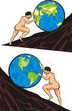 Sisyphus Aufgabe - arbeiten sich eine `s Möglichkeit mühselig durch Stockbild