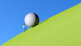 Sisyphus rolling a boulder Royalty Free Stock Images