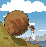 Sisyphus rolling a boulder. Illustration of king Sisyphus rolling a boulder up the hill Royalty Free Stock Photos