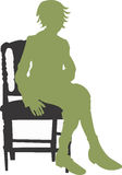 Sit. A illustration of a woman seated on a chair vector illustration
