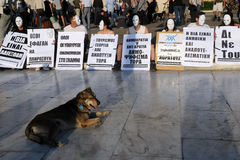 Sit-in bianco della mascherina a Atene Fotografia Stock Libera da Diritti