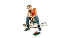 Sit on books Stock Images