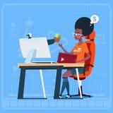 Sit At Computer Streaming Video för afrikansk amerikanflickabloggeren bloggar tjänar den populära Vlog för pengarskaparen kanalen stock illustrationer