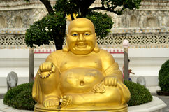 Sit fat buddha. Fat Buddha statue sit in temple Stock Images