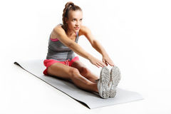 Sit flat on the mat Stock Photo
