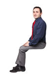 Sit man. Portrait of adult man sit pose on white background Stock Photo