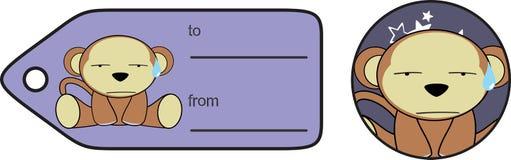 Sit Monkey-Ausdruckkarikatur giftcard vektor abbildung