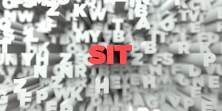 SIT -  Red text on typography background - 3D rendered royalty free stock image Stock Photography