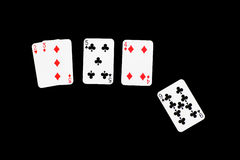 Sit, Sit, Sit, Busted!. A round of Blackjack (21), isolated on black, with clipping path Royalty Free Stock Images