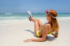 Sit with snorkel Stock Photography