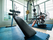 Sit-up bench and weight stand in the public fitness Stock Photography