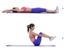 Sit-up. Step by step instructions for abs: Lie faceup with hands extended, legs extended hip-width apart, feet flexed. (A) Engage abs and sit up, bending knees Stock Photography