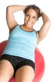 Sit Ups Girl. Beautiful sit ups girl on exercise ball Stock Image