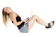 Sit woman using laptop Stock Photos