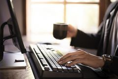 Sit and work on the computer, Sip coffee in the morning stock images