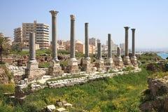 Site archéologique de pneu, Liban images stock