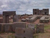 Site archéologique de Tiwanaco à côté de La Paz Image libre de droits