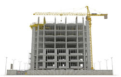 Site area: tower crane and unfinished buiding Stock Images