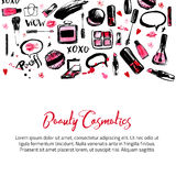Site banner templates for makeup artist, studio. Site header, business card, brochure and flyer. Watercolor background Royalty Free Stock Photography