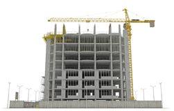Site-Bereich: Turmkran und unfertiges Buiding Stockbilder