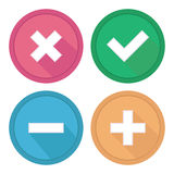 Site button. Signs plus, minus, tick and cross. Royalty Free Stock Photo