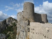 Site of the chateau of peyrepertuse, France Royalty Free Stock Photography