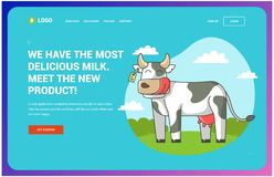 Site about cows which stands on the field inscribed in a circle. Web page vector illustration