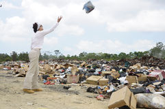 Site d'enlèvement des ordures à Belize images libres de droits